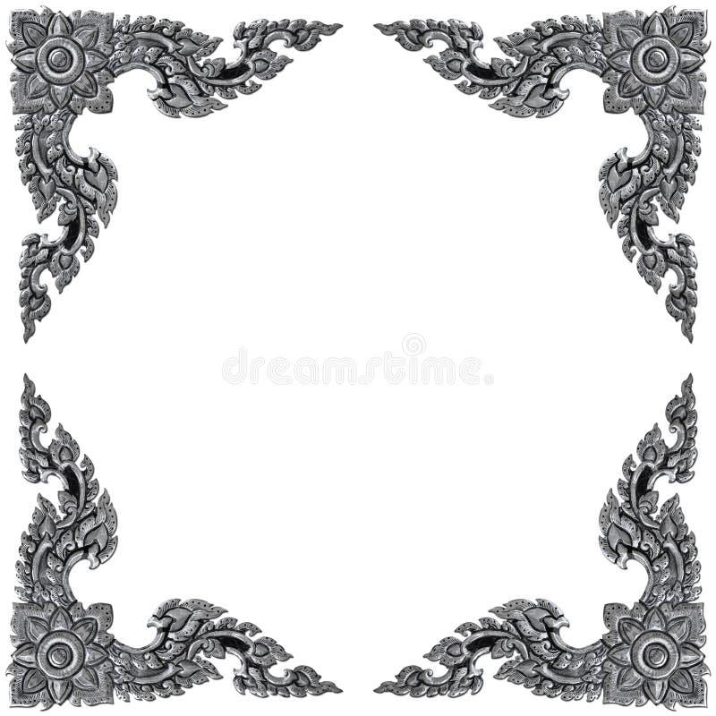 Ornementez le cadre d'éléments, conceptions florales argentées de vintage images libres de droits