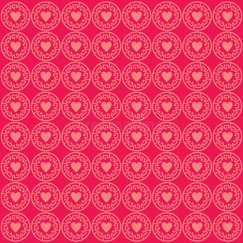 Ornementez le rose de fond de modèle d'amour illustration libre de droits