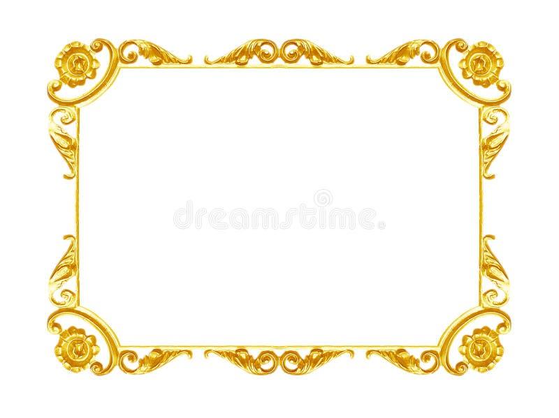 Ornementez les éléments, conceptions florales de cadre d'or de vintage photo libre de droits