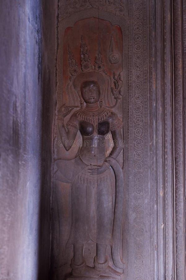Ornements antiques sur les murs du complexe de temple d'Angkor Art de mur des temples hindous Bas-relief m?di?val photo libre de droits