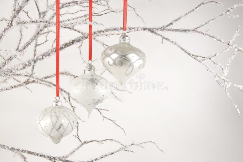 Ornements argentés sur les branchements en cristal photo stock