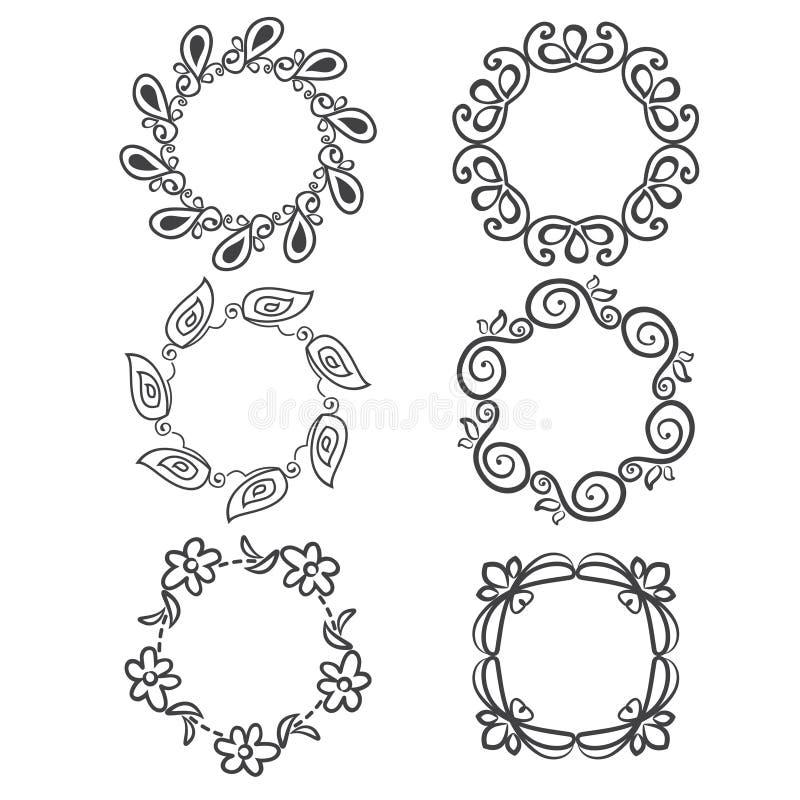 ornements arrondis avec les éléments floraux pour l'invitation, illustration stock