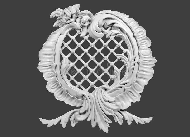Ornements blancs de gypse pour la décoration intérieure image stock