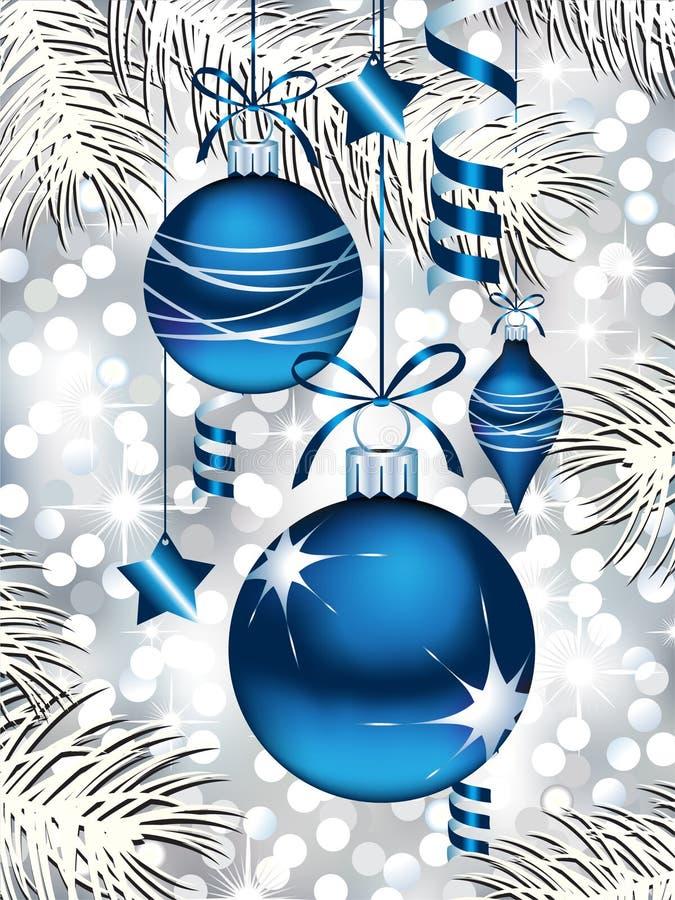 Ornements bleus de Noël illustration stock