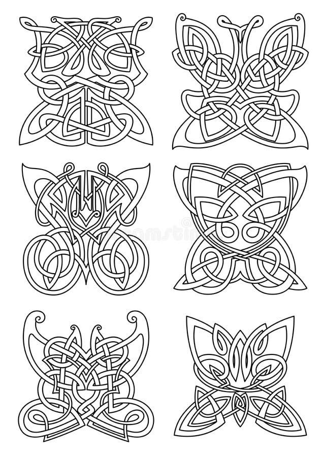 Ornements celtiques tribals d'insecte de papillon illustration libre de droits