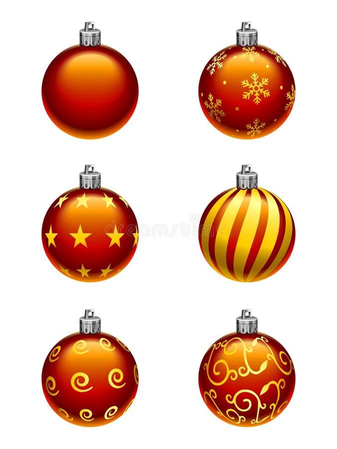 Ornements d'arbre de Noël illustration de vecteur