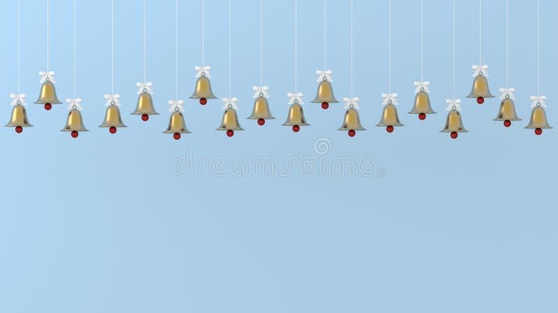 Ornements d'or de cloches de Noël accrochant sur le fond bleu décrivez l'espace de copie pour l'annonce de conception d'oeuvre d' illustration stock