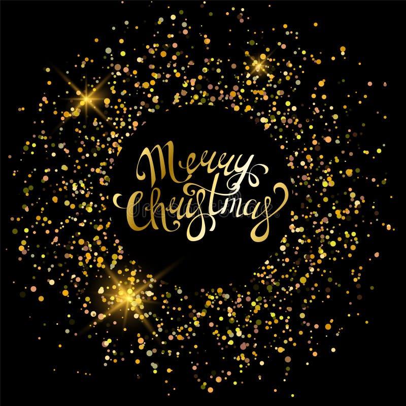 Ornements d'or de Joyeux Noël pour l'affiche, la carte de voeux, l'invitation de partie, la bannière ou l'insecte sur le fond noi illustration libre de droits