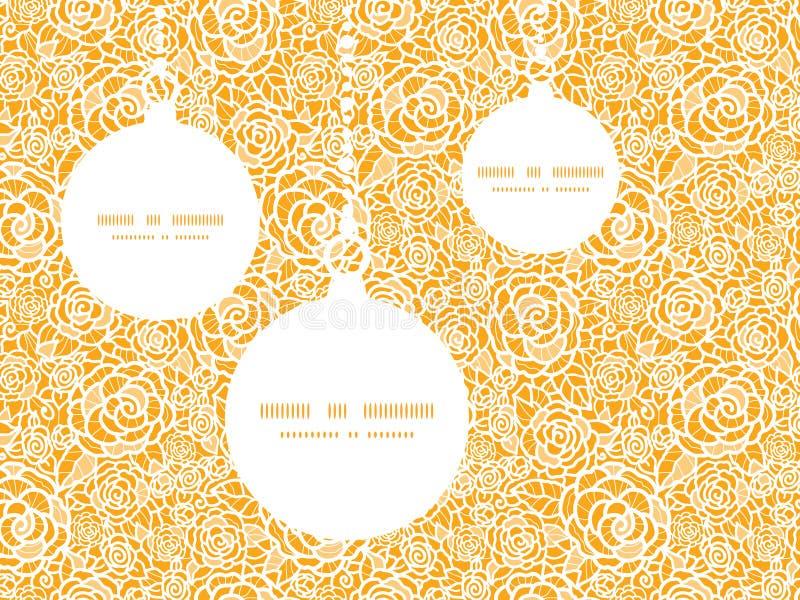 Ornements d'or de Noël de roses de dentelle de vecteur illustration stock