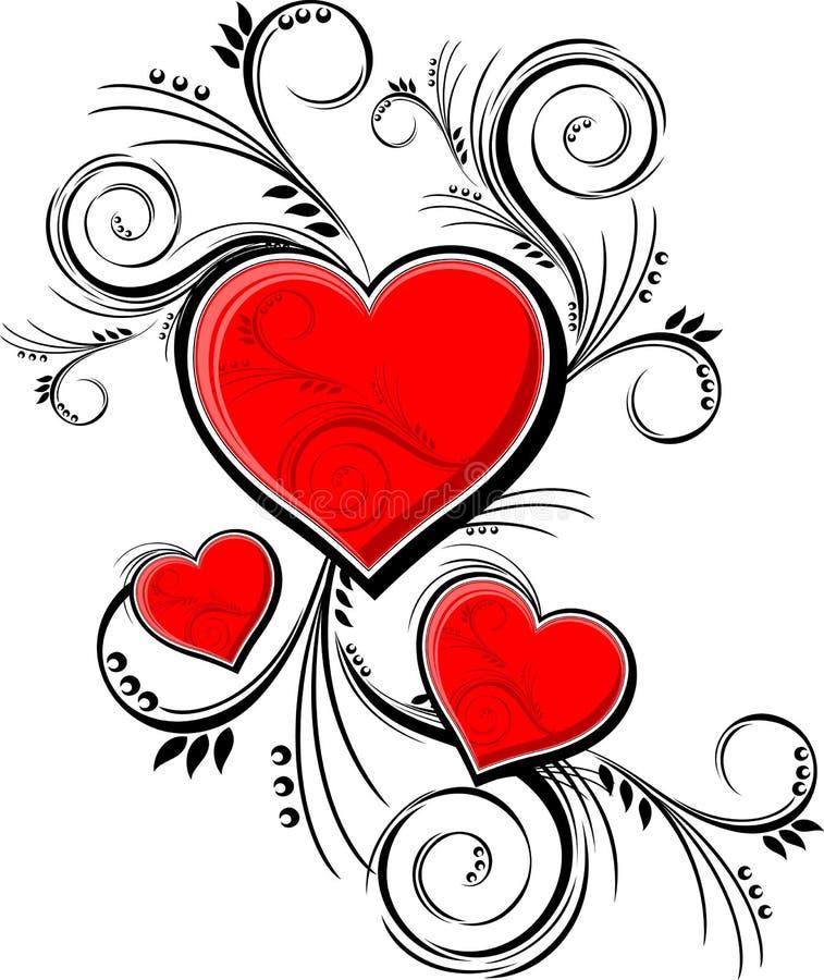 Ornements de coeurs illustration libre de droits