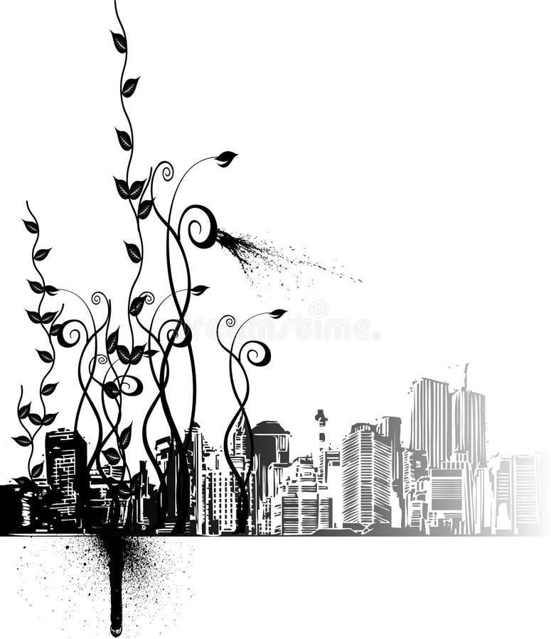 Ornements de fleur et la ville illustration de vecteur