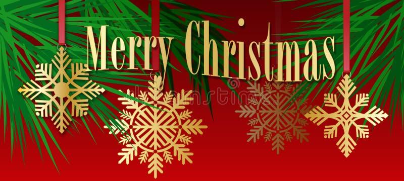 Ornements de flocon de neige d'arbre de Noël avec le sentiment de Joyeux Noël illustration libre de droits