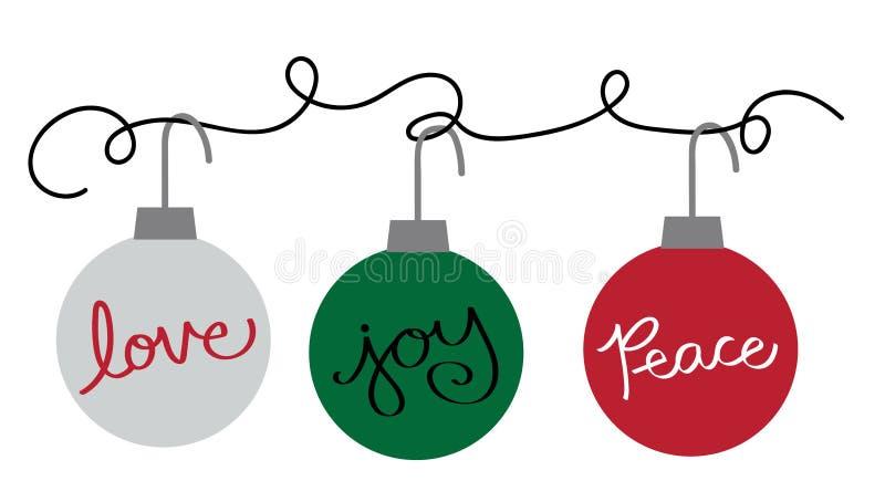 Ornements de Joyeux Noël bonnes fêtes illustration stock