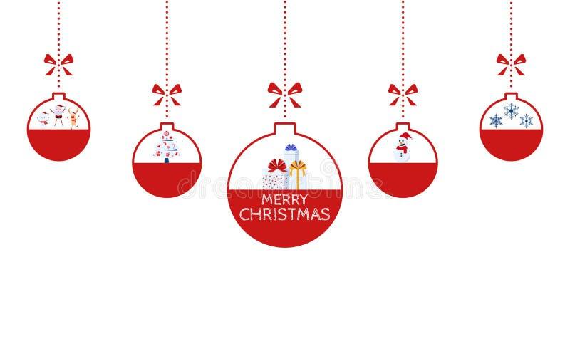 Ornements de Noël accrochant avec le fond d'isolement par ruban Arbre de boîte-cadeau et de Noël de renne de bonhomme de neige du illustration stock