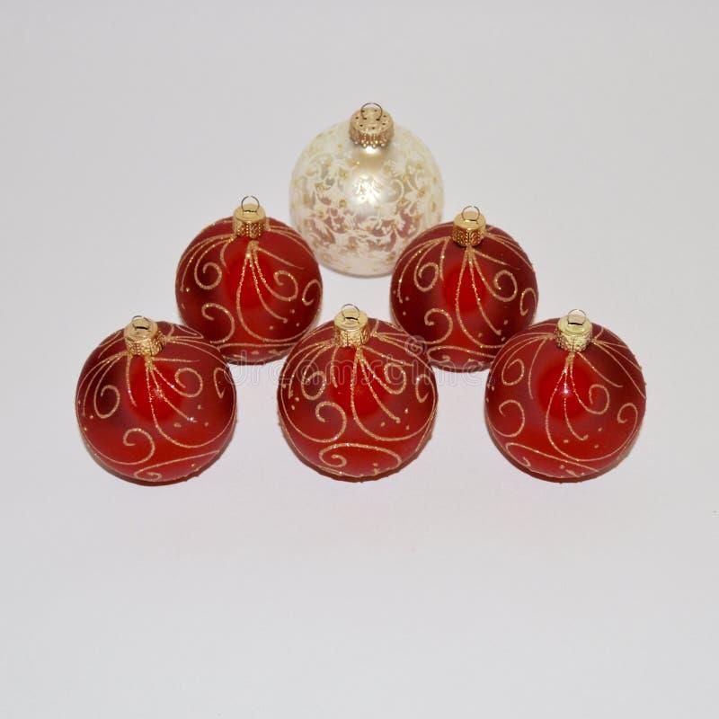 Ornements de Noël Décorations de Noël rouge et blanc images stock