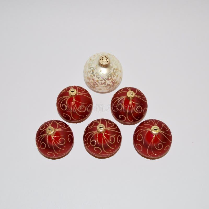 Ornements de Noël Décorations de Noël rouge et blanc photographie stock