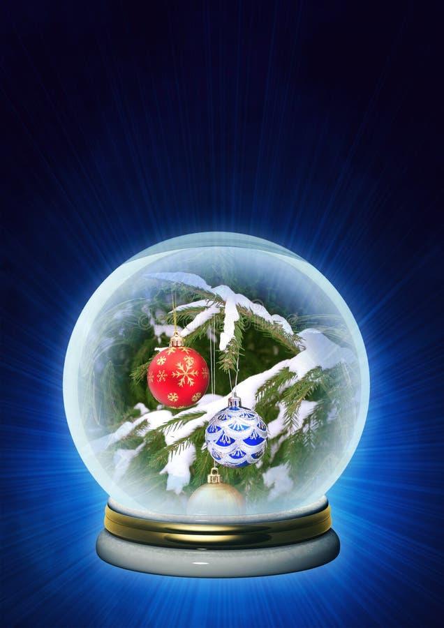 Ornements de Noël dans le cristal magique illustration de vecteur