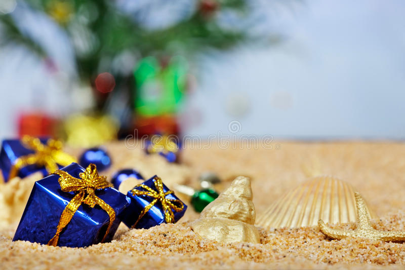 Ornements de Noël de plage photographie stock libre de droits