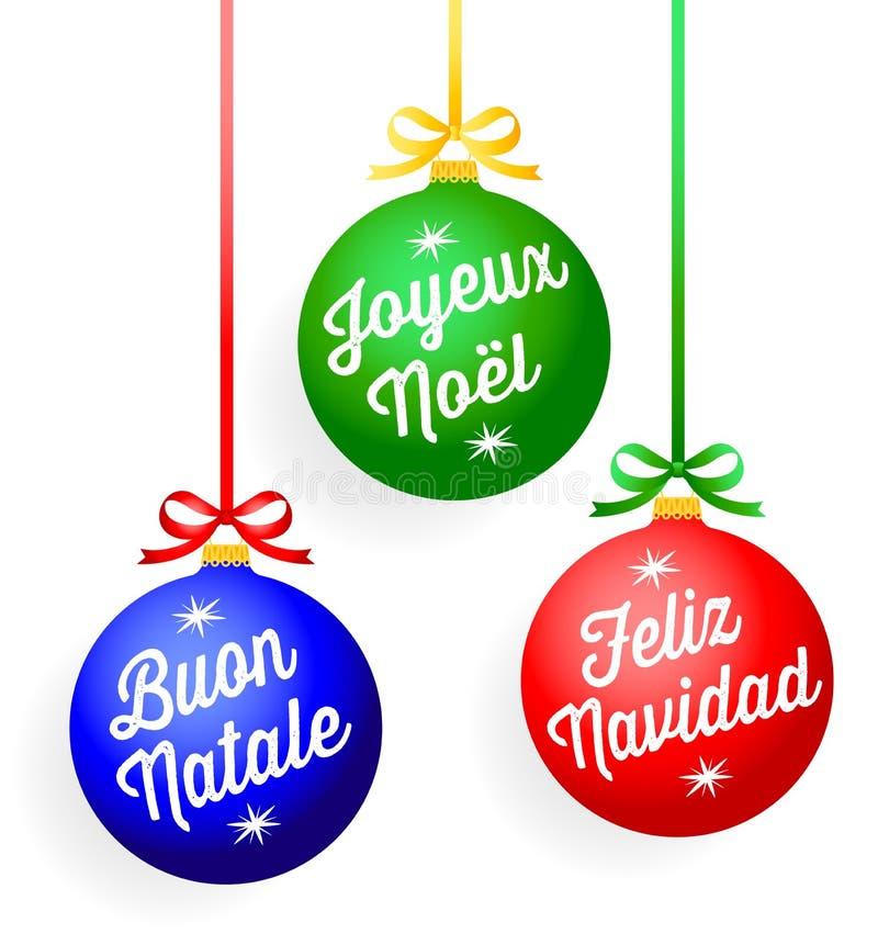 Ornements de salutation de Noël illustration libre de droits