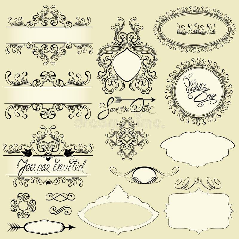 Ornements de vintage et cadres, vignettes, conception calligraphique illustration de vecteur