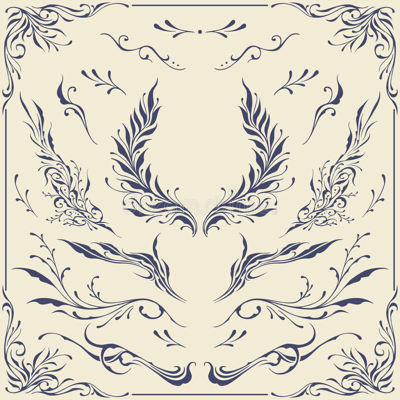 Ornements floraux de cadre et de frontière illustration stock