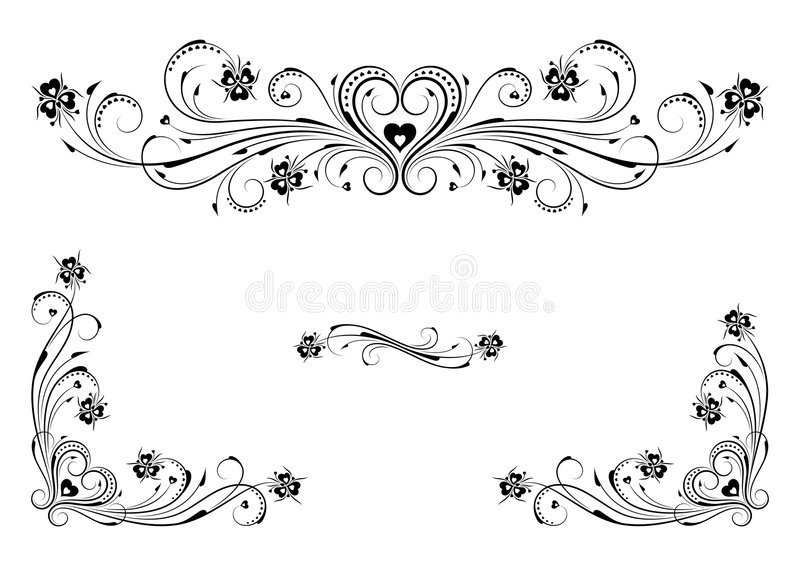 Ornements floraux de coeur illustration libre de droits