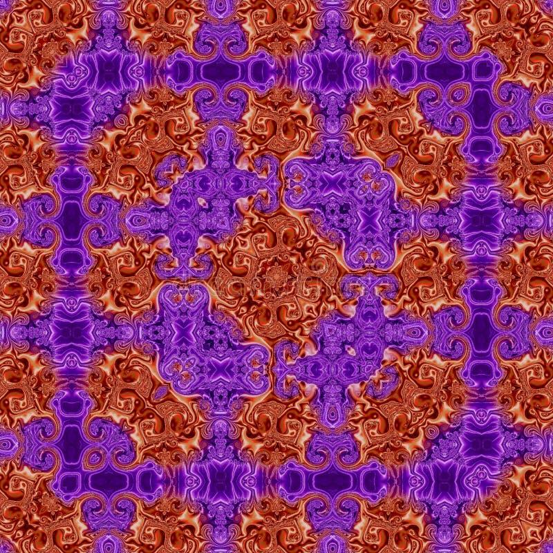Ornements folkloriques de modèle, broderie traditionnelle, tapis en soie d'effet dans la violette et rose illustration stock