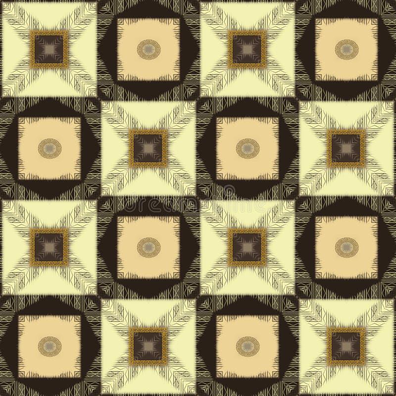 Ornements géométriques de patchwork avec les places rayées de grunge illustration libre de droits