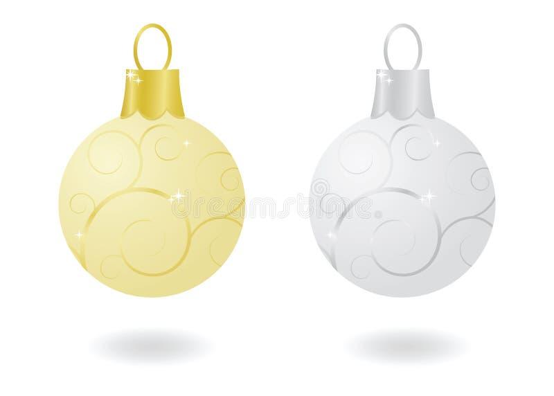 Ornements métalliques de Noël illustration de vecteur
