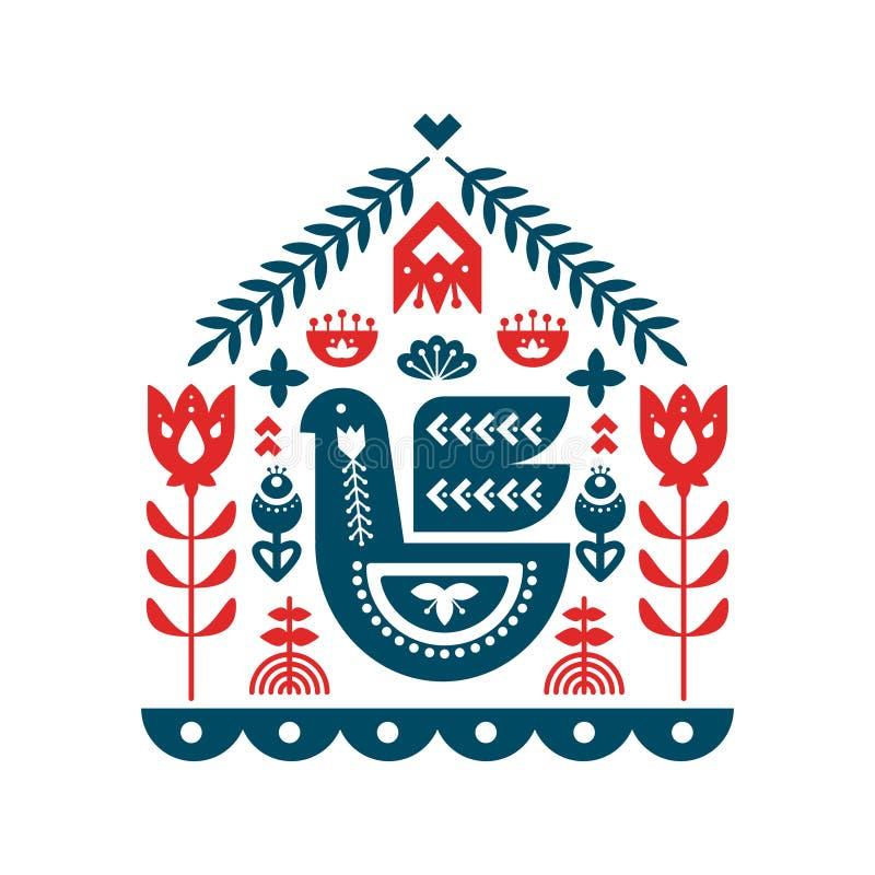 Ornements nordiques, modèle d'art populaire illustration stock