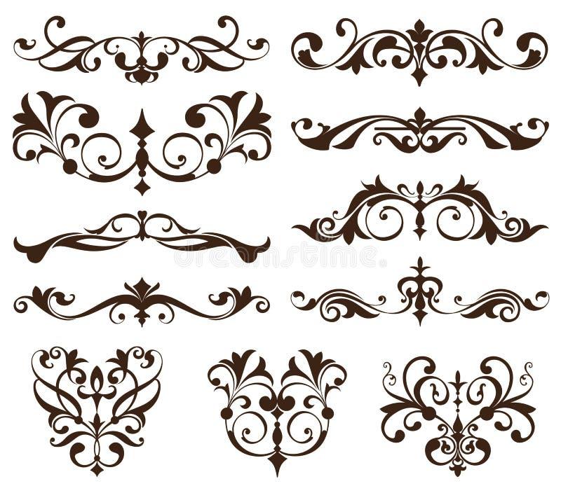 Ornements réglés de vintage de vecteur, coins, frontières Art nouveau d'éléments de conception de vintage Monogramme noir et blan illustration libre de droits