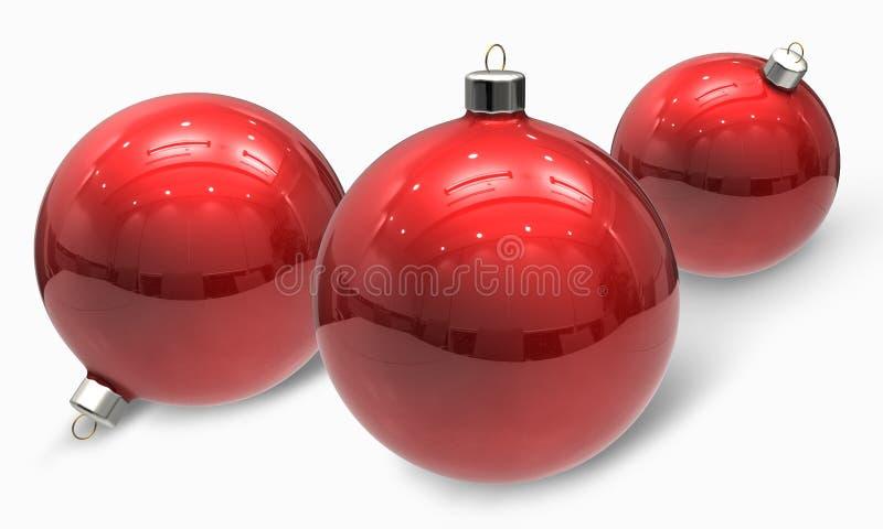 Ornements rouges de billes de Noël illustration libre de droits