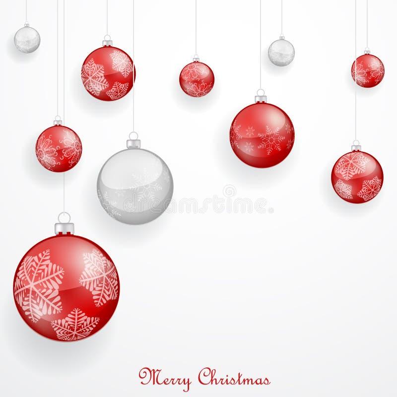 Ornements rouges de Noël illustration stock
