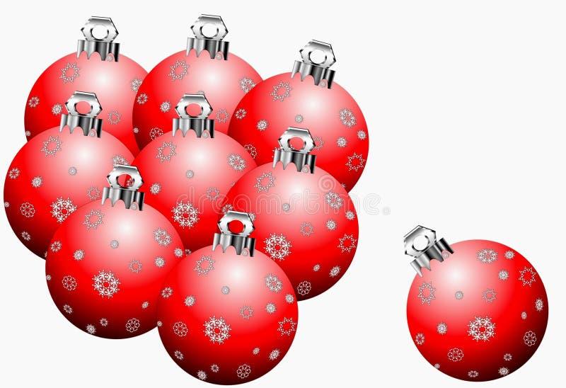 Ornements rouges de Noël de flocon de neige illustration de vecteur