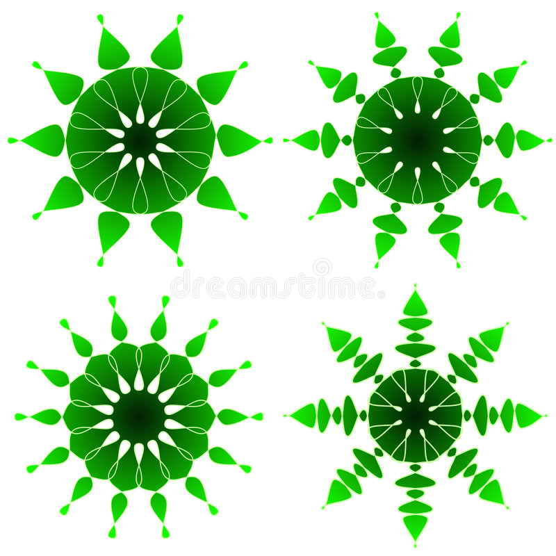 Ornements verts illustration stock