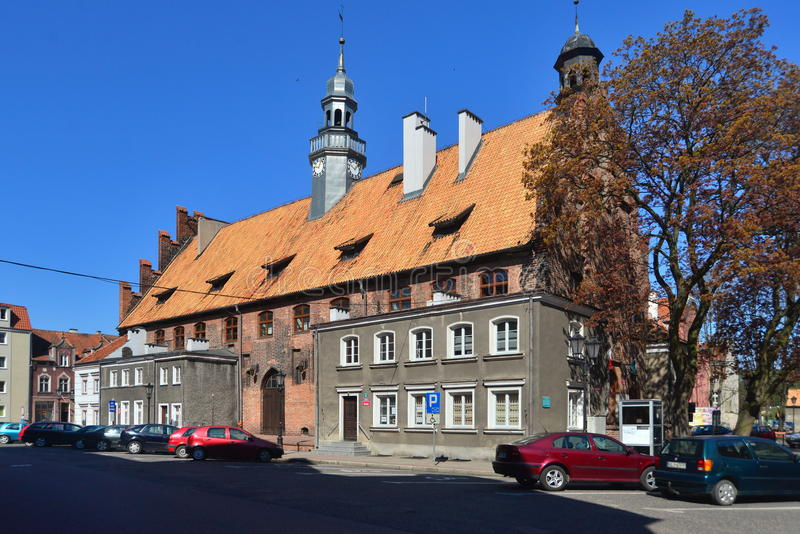 Orneta medieval city hall. Medieval city hall building in gothic style style of early 14th century in the city of Orneta in the northern Poland royalty free stock image
