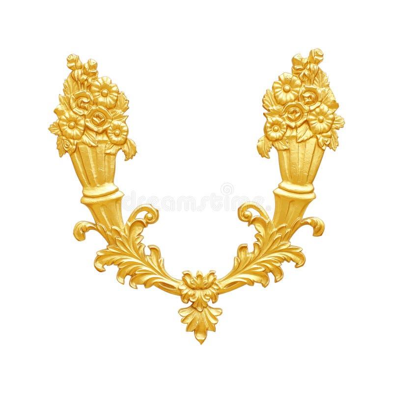 Orni gli elementi, progettazioni floreali dell'oro d'annata su bianco fotografia stock