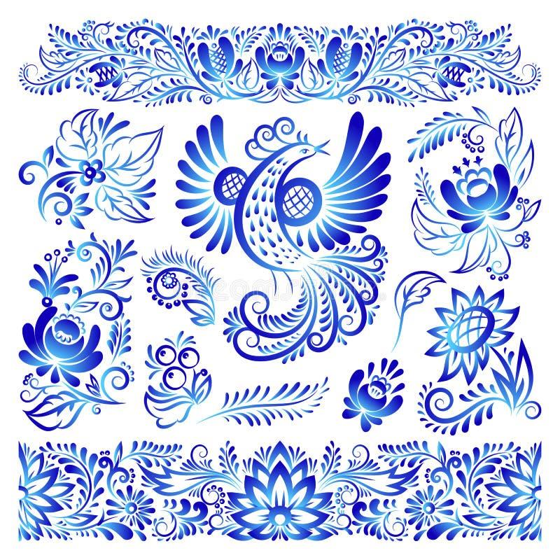 Orni l'illustrazione piega russa tradizionale blu di vettore del modello del ramo dell'uccello di arte dipinta stile del gzhel e  royalty illustrazione gratis