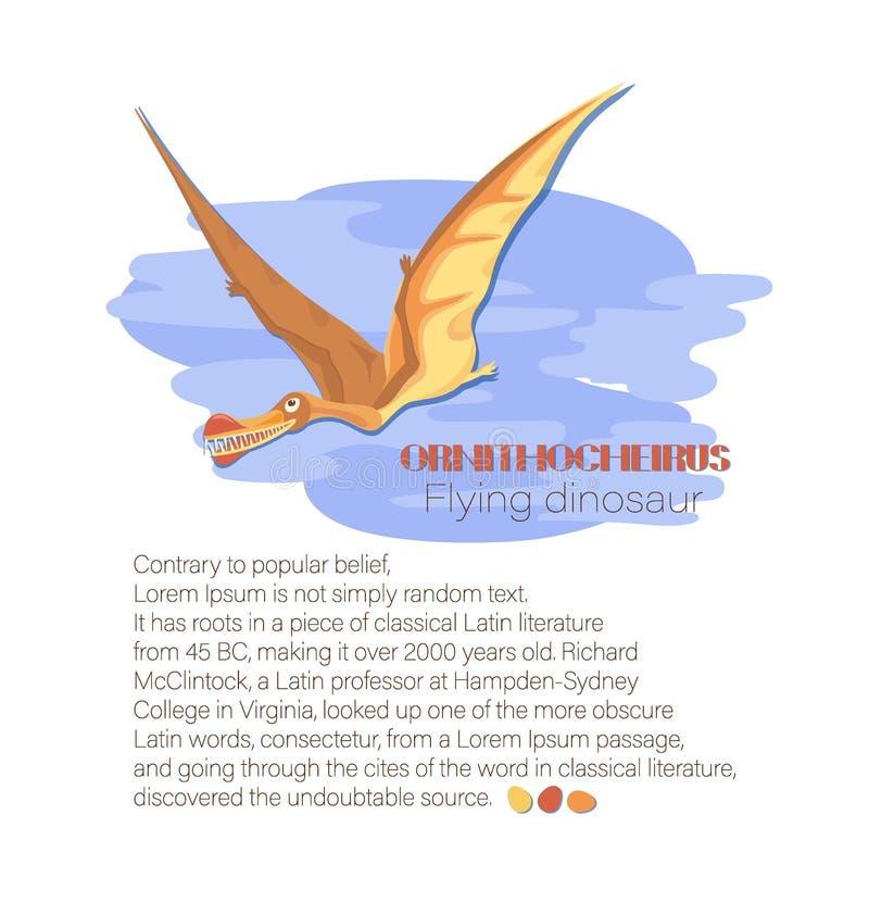 Ornithocheirus entre as nuvens Dinossauro do voo ilustração royalty free