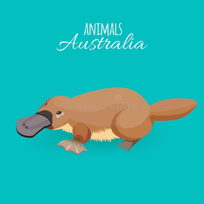 Ornithorynque duckbilled de rampement de brun animal d'Australie d'isolement sur le fond azuré illustration stock
