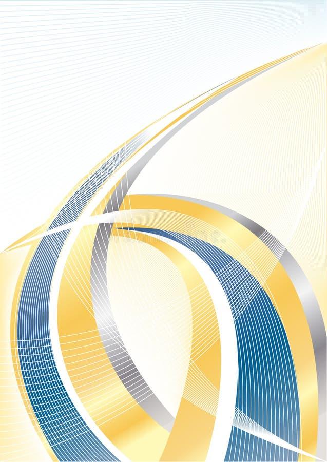 Oro abstracto del vector y fondo azul stock de ilustración
