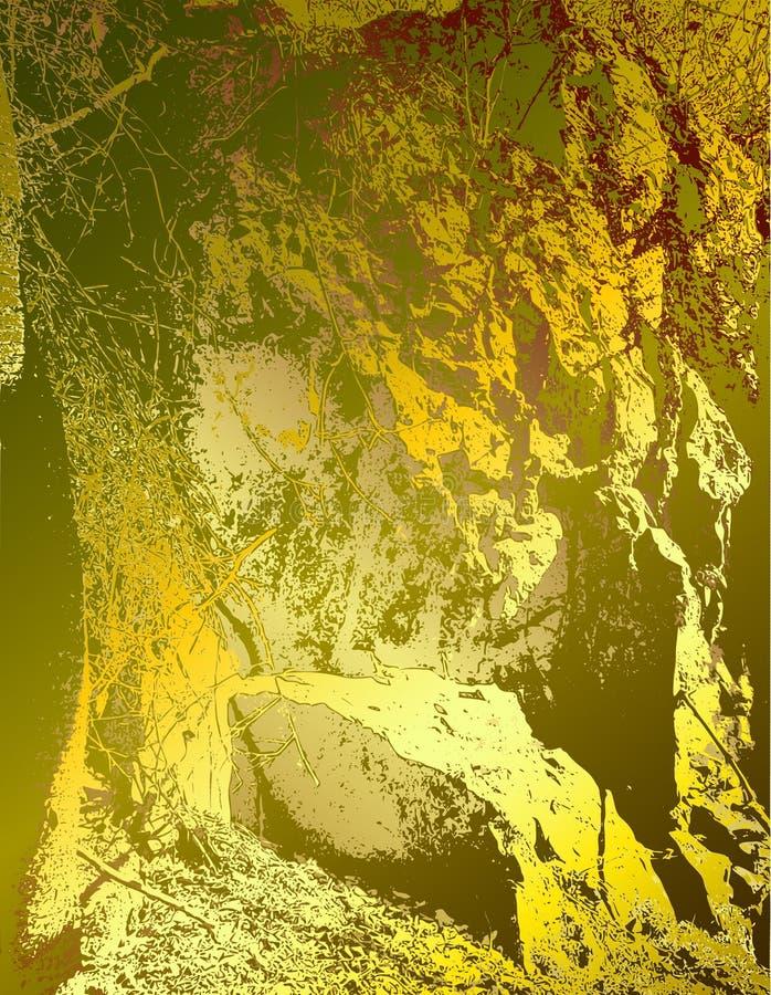 Oro abstracto y fondo verde que se asemejan a la estructura de la roca libre illustration