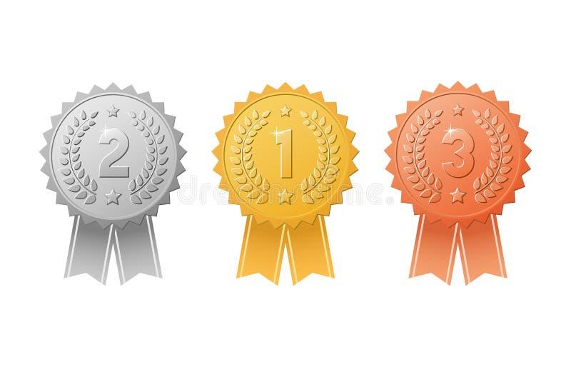 Oro, argento, distintivi bronzei del premio con l'insieme di vettore dei nastri di colore Metal le guarnizioni del trofeo della m royalty illustrazione gratis