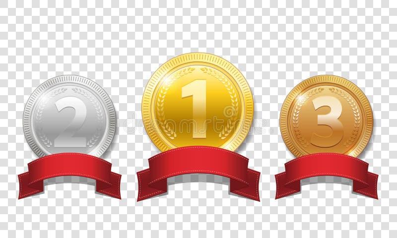 Oro, argento e medaglie brillanti bronzee con i nastri rossi isolati su fondo trasparente Sport delle medaglie del premio del cam illustrazione di stock