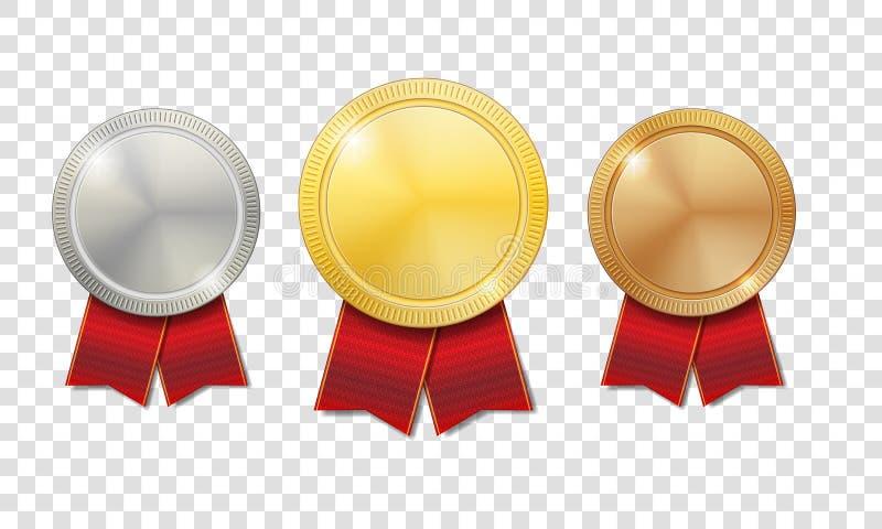 Oro, argento e medaglie brillanti bronzee con i nastri rossi su fondo trasparente Sport delle medaglie del premio del campione illustrazione di stock