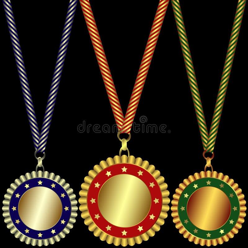 Oro, argento e medaglie di bronzo illustrazione di stock