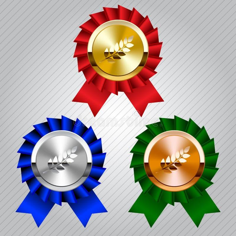 Oro, argento e medaglie di bronzo con le corone dell'alloro illustrazione di stock