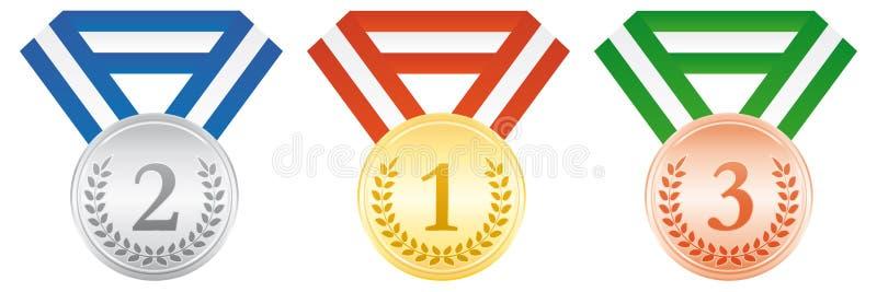 Oro, argento e medaglie di bronzo Icona di cerimonia di premiazione illustrazione di stock