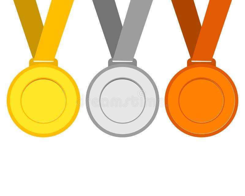 Oro, argento e medaglie di bronzo per i vincitori dei campioni illustrazione vettoriale