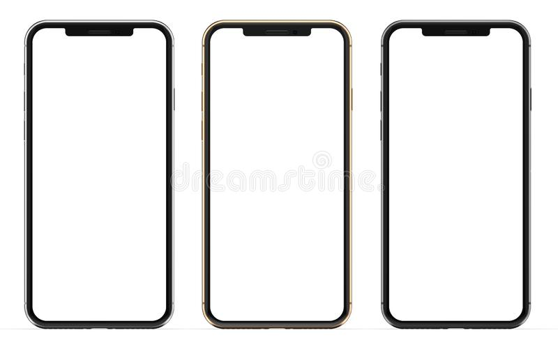 Oro, argento e smartphones neri con lo schermo in bianco, isolato su fondo bianco fotografia stock